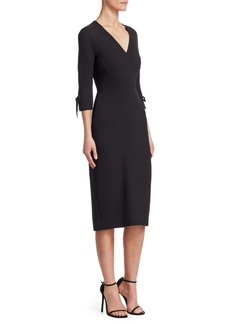 Lela Rose Stretch-Wool Bow-Sleeve Sheath Dress