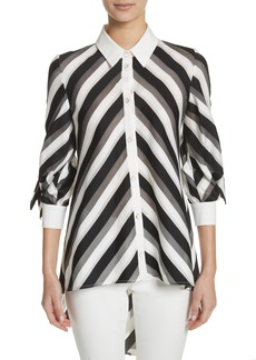 Lela Rose Stripe Bow Sleeve Shirt