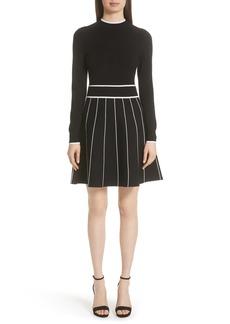 Lela Rose Stripe Knit Fit & Flare Dress