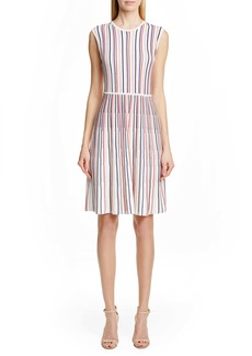 Lela Rose Stripe Silk Blend Sweater Dress