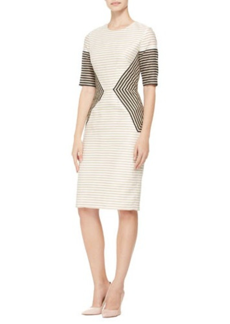 Lela Rose Striped Peaked-Panel Dress