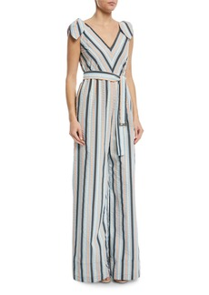 Lela Rose Striped V-Neck Bow-Tie Belted Wide-Leg Jumpsuit