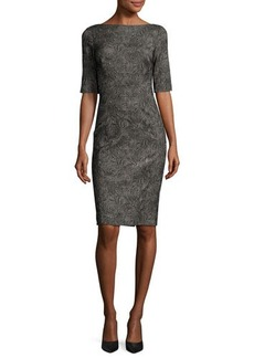 Lela Rose Swirl-Jacquard Half-Sleeve Sheath Dress