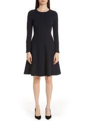Lela Rose Textured Jacquard Knit Fit & Flare Dress
