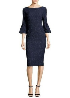 Lela Rose Textured Stretch-Jacquard Bell-Sleeve Sheath Dress