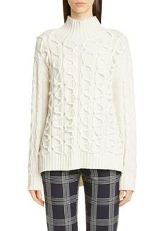 Lela Rose Textured Wool & Cashmere Turtleneck Sweater