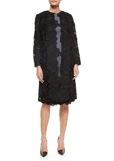 Lela Rose Three-Quarter-Sleeve Rose Lace Coat