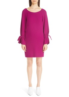 Lela Rose Tie Cuff Wool Blend Crepe Shift Dress