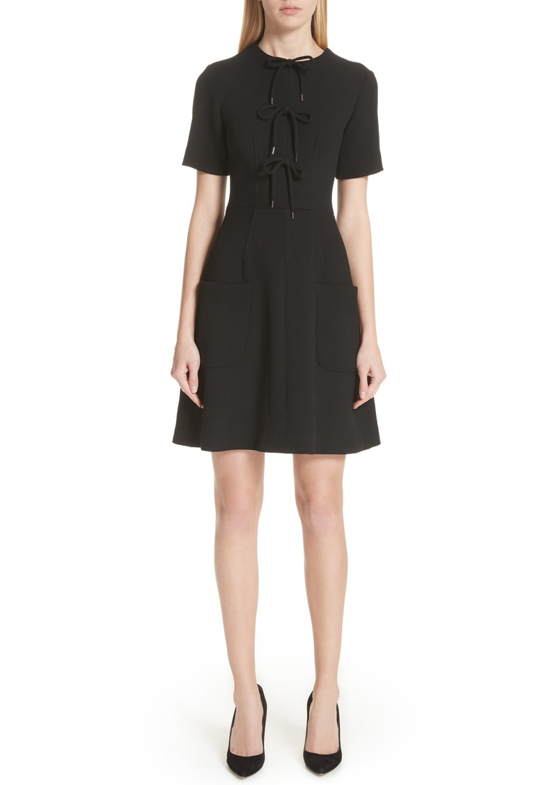 Lela Rose Tie Front A-Line Dress