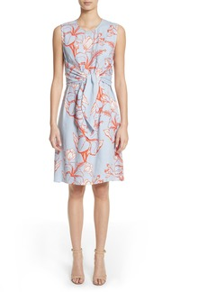 Lela Rose Tie Front Floral Stripe Dress