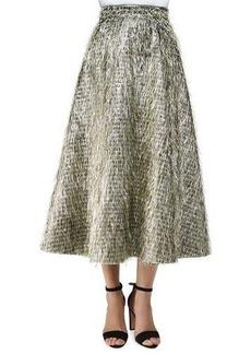 Lela Rose Tinsel-Fringe Full Midi Skirt