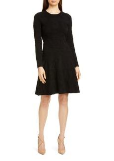 Lela Rose Tonal Jacquard Long Sleeve Tiered Wool Blend Dress