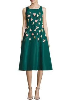 Lela Rose Tulip Embroidered Faille A-Line Dress