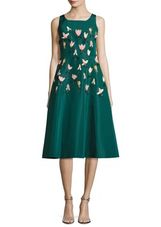 Lela Rose Tulip Embroidered Faille A-Line Dress