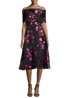 Lela Rose Tulip Fil Coupe Off-the-Shoulder A-Line Dress