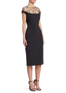Lela Rose Tulle-Yoke Sheath Dress