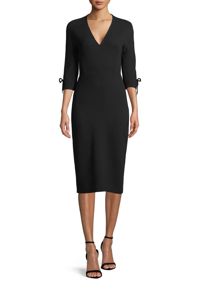 Lela Rose V-Neck 3/4-Sleeve Fitted Sheath Dress