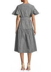 Lela Rose V-Neck Flutter-Sleeve Plaid A-Line Dress w/ Self-Belt