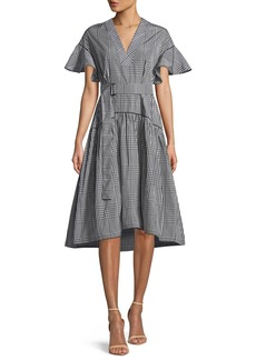 Lela Rose V-Neck Flutter-Sleeve Plaid A-Line Dress w/ Self-Belt
