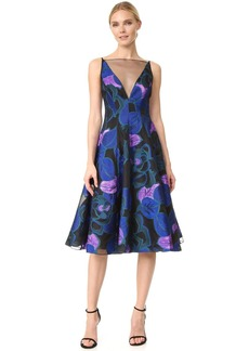 Lela Rose V Neck Full Skirt Dress