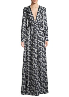 Lela Rose V-Neck Long-Sleeve Floral-Print A-Line Evening Gown