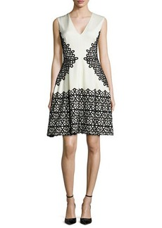 Lela Rose V-Neck Scroll Guipure Lace Dress