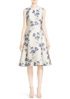Lela Rose Vine Jacquard Fit & Flare Dress