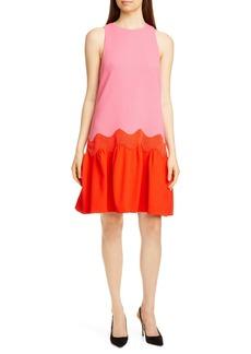 Lela Rose Wave Contrast Hem Wool Blend Dress