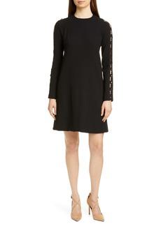 Lela Rose Wave Inset Long Sleeve Tunic Dress