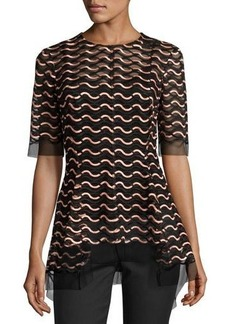 Lela Rose Wave Lace Flared-Hem Top
