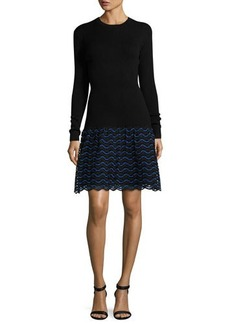 Lela Rose Wave-Lace Long-Sleeve Dress