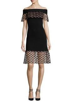 Lela Rose Wave-Lace Off-the-Shoulder Dress