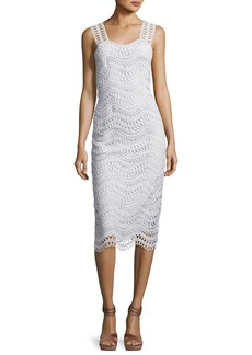 Wave-Lace Sleeveless Sheath Dress