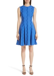 Lela Rose Wave Lace Trim Dress