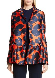Lela Rose Wave Silk Blend Peplum Jacket
