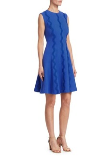 Lela Rose Wave-Trim A-Line Dress