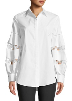 Lela Rose Wave-Trim Button-Down Balloon-Sleeve Cotton Shirt