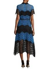Lela Rose Wavy Striped Lace Midi Shirtdress