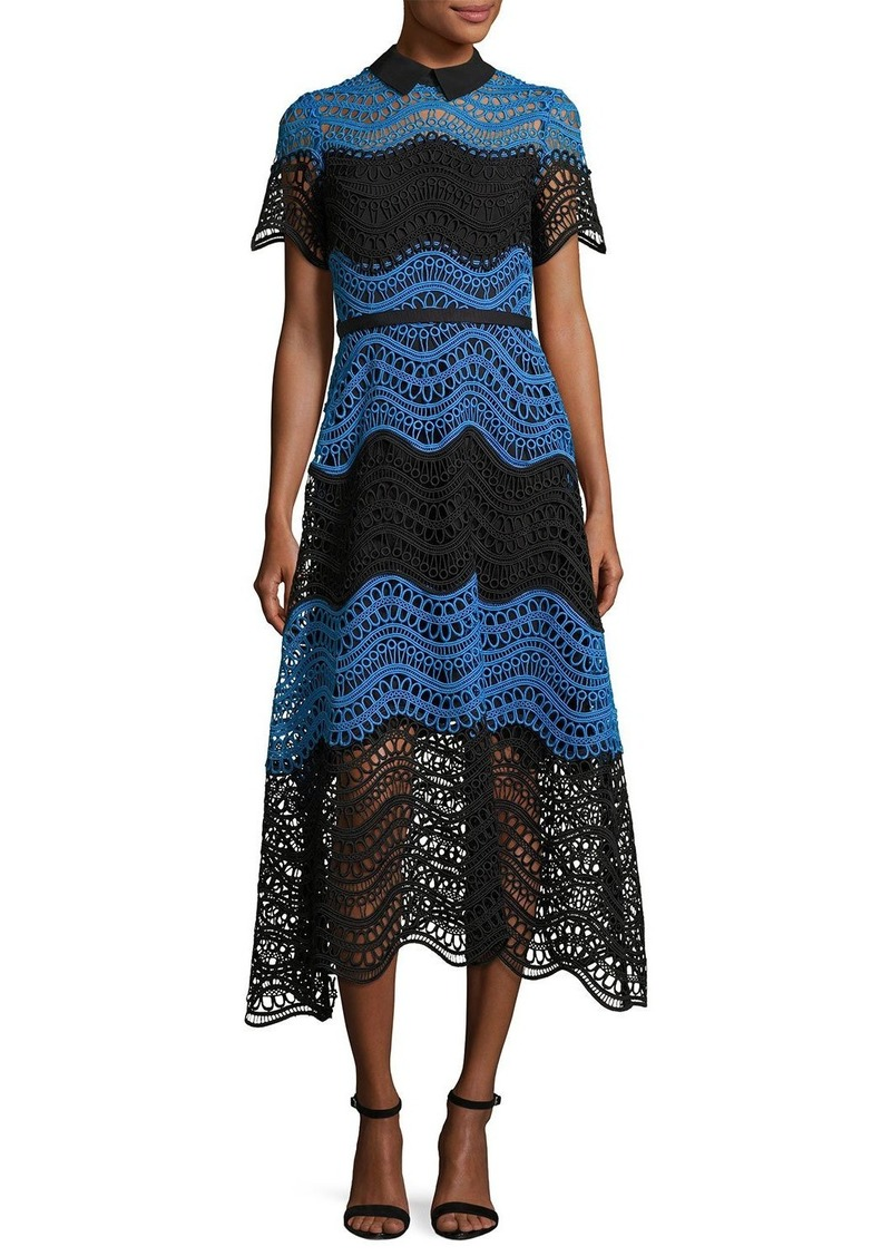 Lela Rose Wavy Striped Lace Midi Shirtdress