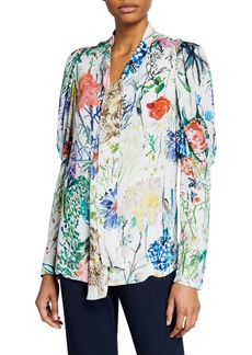 Lela Rose Wild Flower Georgette Ruched-Sleeve Blouse