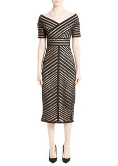 Lela Rose Windowpane Lace Midi Dress