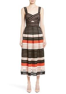 Lela Rose Windowpane Lace Midi Dress