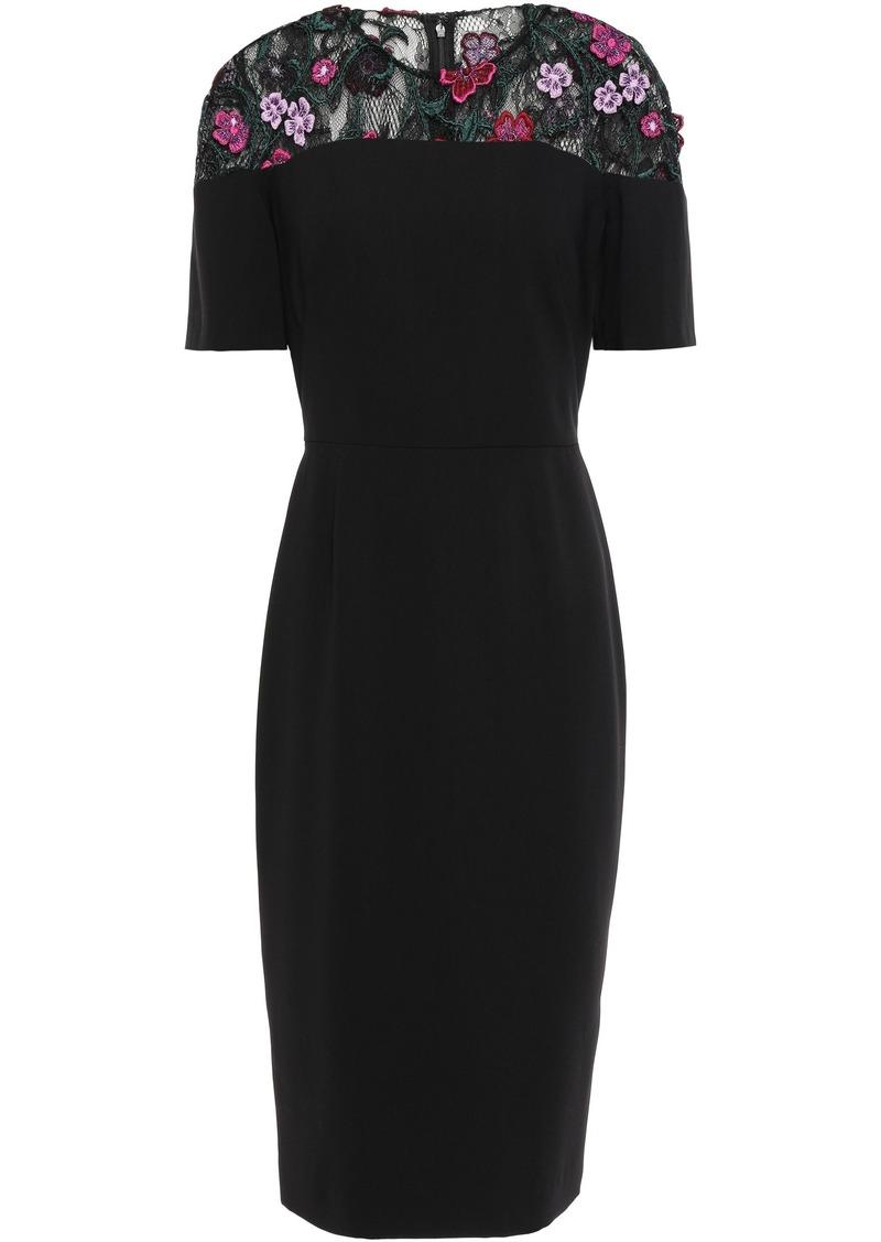 Lela Rose Woman Appliquéd Chantilly Lace-paneled Crepe Dress Black