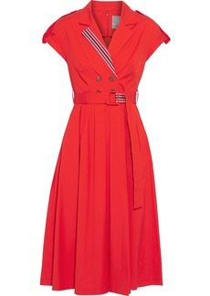 Lela Rose Woman Belted Button-embellished Stretch Cotton-poplin Dress Tomato Red