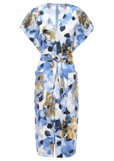 Lela Rose Woman Belted Metallic Floral-print Cotton-blend Poplin Dress Light Blue