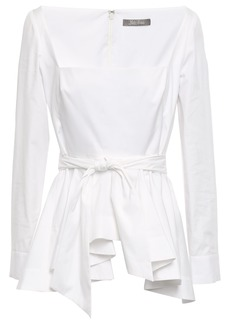 Lela Rose Woman Belted Stretch-cotton Poplin Peplum Top White