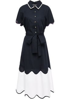 Lela Rose Woman Belted Two-tone Cotton-blend Poplin Midi Dress Navy