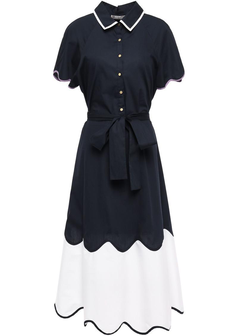 Lela Rose Woman Belted Two-tone Cotton-blend Poplin Midi Dress Navy