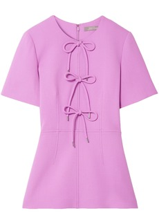 Lela Rose Woman Bow-detailed Wool-blend Crepe Peplum Top Lavender