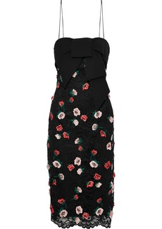Lela Rose Woman Bow-embellished Floral-appliquéd Corded Lace Dress Black